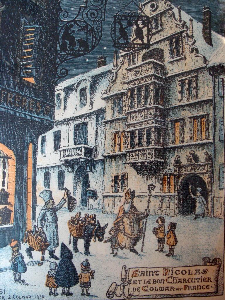 lithographie originale de Hansi (1938) représentant Saint-Nicolas passant devant la Maison des Têtes et la boucherie des frères Finker à Colmar